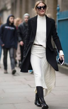 Olivia Palermo pays homage to the current trend for skewed hemlines.