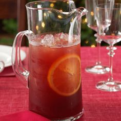 Sparkling Cranberry Kiss ~ 6 cups cranberry juice, 1-1/2 cups orange juice, and 3 cups ginger ale