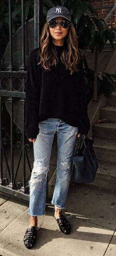 cool street style outfit knit + jeans