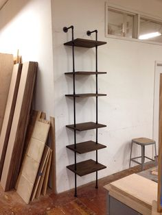 Skinny Shelving Unit. modern industrial shelving.  wood pipes piping