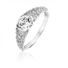 Bling Jewelry Vintage 925 Sterling Round CZ Solitaire Engagement Ring .75ct