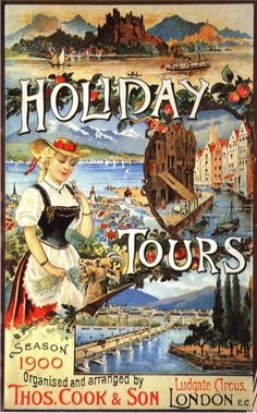 Vintage Travel Poster - THOMAS COOK SET UP HIS FIRST PACKAGE HOLIDAYS FROM LEICESTER - UK - 1900 !