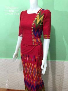 สวยงามค่ะ Batik Dress, Blouse Dress, Traditional Dresses Designs, Filipiniana Dress, Myanmar Dress Design, Dress Brokat, Thai Fashion, Myanmar Traditional Dress, Sunday Dress