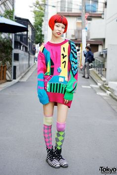 "Minami works at the #Harajuku socks boutique ""The Circus"". Her hair is the first thing that caught our eye! The rest of her look includes an oversized resale sweater, colorful socks, and 24 Footwear boots. Check all of Minami's snaps & info here! #tokyofashion"