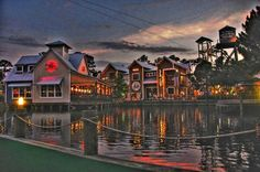 The Village of Baytowne Wharf part of Sandestin Golf and Beach Resort at night