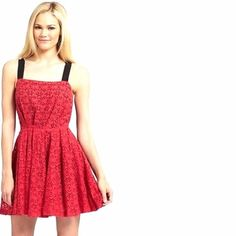 WALTER BAKER summer dress Beautiful quality, red soft lace with black lining. Zipper in the back, wide stripes, comfortable and flattering. Pit to pit - appx 15.5, length - appx 33.5 Walter Baker Dresses