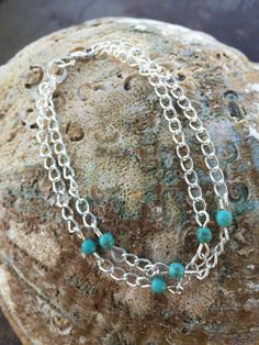 Silver & Tiny Turquoise Bead Summer Bracelet by ChristensenStudio