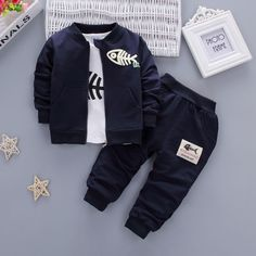 Nice iAiRAY 3 pcs baby boy clothing boys suit cheap clothes china dark blue spring jacket infant coats white long shirt boys trousers - $39.03 - Buy it Now!