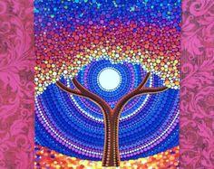 Regenboog boom - Art briefkaart