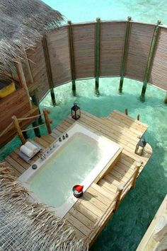 "Want to go: The Maldives seem to have the coolest hotel/villa features. ""Outdoor Private Bath - Soneva Gili By Six Senses - North Male Atoll, Maldives"" Vacation Destinations, Dream Vacations, Dream Vacation Spots, Vacation Places, Oh The Places You'll Go, Places To Travel, Gili Lankanfushi, Outdoor Baths, Outdoor Tub"