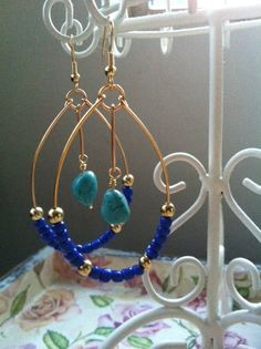 14 k Gold hoop earrings with turquoise stone by EmiLouDesigns, $60.00