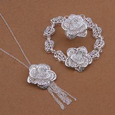 DUMAN Fashion Jewelry Set 925 Silver Plated Rose  ($13.49)