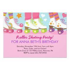 Roller Skate Birthday Invitations Roller Skating birthday party invitations