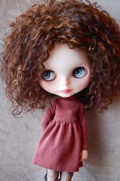 Love the Hair! Warm Blonde Auburn Mahogany Curls. And love the little flannel cotton baby doll dress