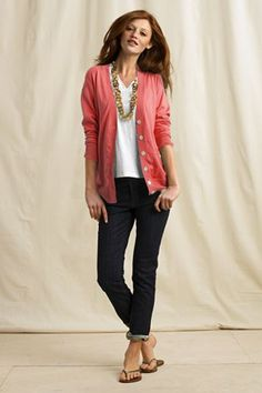 Pink cardigan and boyfriend jeans