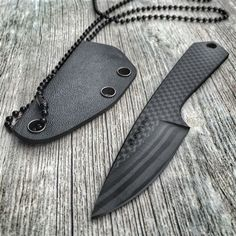 Bastion All Carbon Fiber Edc  Neck Knife Straight Handle - Everyday Carry Gear