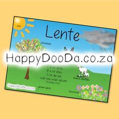 'n Tema muurkaart – Lente. Hierdie produk is in Afrikaans vir leerders 4-13 jaar. Home Schooling, Afrikaans, Hdd, Homeschool, Words, Afrikaans Language, Homeschooling