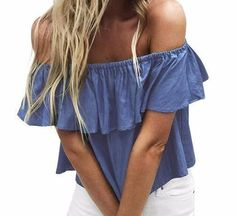 Cold Shoulder Denim Ruffle Top - Sassy Posh - 1