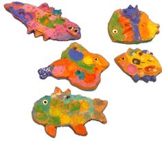 1st Grade Art with Mrs. Brown - Clay Fossil Fish. I love combining art and science