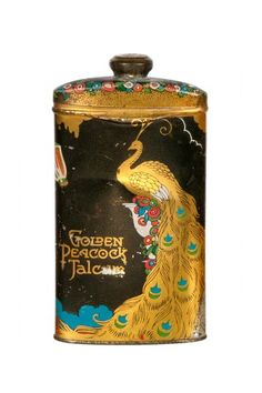 Vintage Art Nouveau Golden Peacock Talcum Powder Tin by Vintage Bazaar on @HauteLook