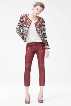 Isabel marant for H&M red wax biker trousers