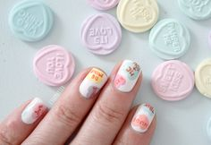 conversation hearts nail art