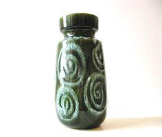 Scheurich Keramik Green Glazed Ceramic Vase 242-22 W. Germany Pottery