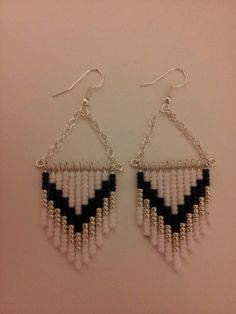 Seed bead earrings black,white, & silver