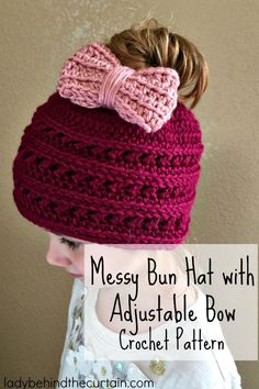 Messy Bun Hat with Adjustable Bow Crochet Pattern | Your little girl can be styling in no time with this easy to make Messy Bun Crocheted Hat!
