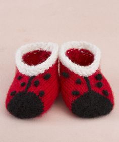 Free knitting pattern for Lady Bug Booties - Lorna Miser designed these adorable baby booties for your love bug. Pattern is rated easy by Red Heart and Ravelry knitters. Also available with matching Lady Bug Jacket and Hat.