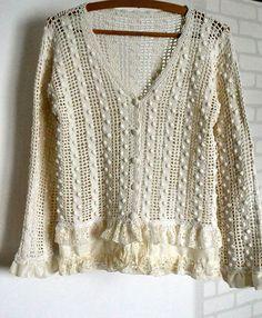cardigan, jacket, crochet, lace, artsy clothing, cotton, ivory, shabby chic, recycled jacket