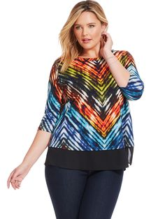 Painted Chevron Contrast Hem Top by @karen_kane Available in sizes 0X-3X