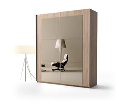 Armoire Daphné largeur 202 cm portes miroir