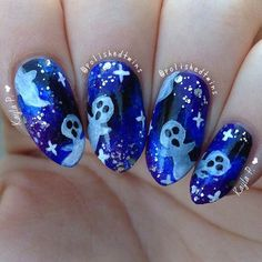 Scary Ghosts Halloween Nail Art