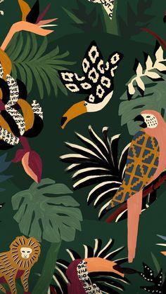 in love drawings Tumblr Wallpaper, Wallpaper Backgrounds, Iphone Wallpaper, Pattern Art, Print Patterns, Jungle Illustration, Design Textile, Pattern Wallpaper, Cute Wallpapers
