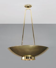 Paavo Tynell, pair of ceiling lights (showing one), ca.1950s, manufactured by Taito Oy, Finland. Brass and painted metal. / Phillips