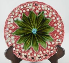 Schramberg Villeroy and Boch German Majolica Lily of the Valley Plate Very Rare