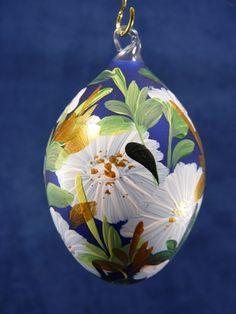 Hand Blown Glass Floral Easter Egg made in Slovakia Handpainted