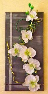 Tableau floral ton gris/argent, orchidée blanche tableaux, peintures (photo 1)