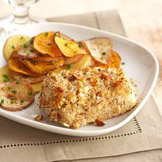 Crispy Almond Fish  Fish doesn't need to be fried to have a flavorful crunch. This recipe makes tasty, almond-crusted fish for only 252 calories per serving.