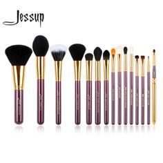 Jessup pro 15 unids pinceles de maquillaje herramienta pincel polvos sombra de ojos delineador de labios púrpura y oro