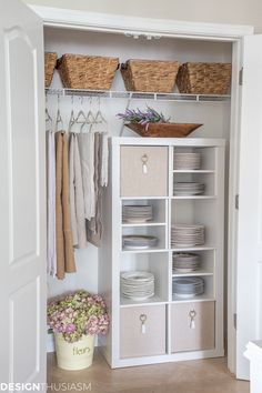 Plate Storage | Do you have dishes that don't fit in your cabinets? This closet design makeover offers a creative approach to DIY closet shelving for extra plate storage. ----- #designthusiasm #closetshelving #platestorage #closetdesign #closetmakeover #closetstorage