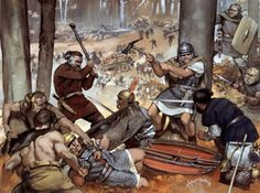 """Ambush in the Teutoburg Forest, 9 AD"", Angus McBride. 3 Roman legions destroyed by Germanic tribes."