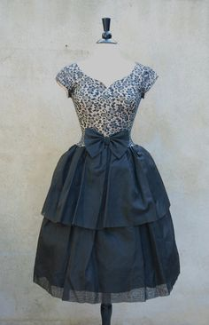 1950's Black, Nude, and Metallic Party Dress
