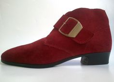 french vtg  POINTED ankle SHOES  80s red suede  by lesclodettes, $45.00