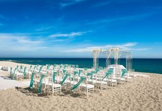 blue and white wedding on the beach