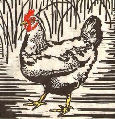 Chicken - Original Linocut Print. (via Etsy)