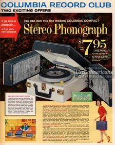 Get your own stereo phonograph & records! (1963)  Read more at http://clickamericana.com/eras/1960s/get-your-own-stereo-phonograph-records-1963 | Click Americana