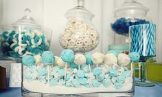 blue candy buffet cake pops