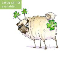 Lucky Butt Pug Art Print - Funny Pug St Patricks Day Decoration, St Paddys Day Print, Irish Decor with Shamrock and Pug by Inkpug